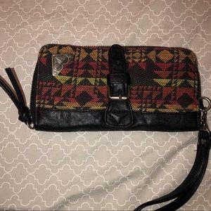Roxy Patterned Black Leather wristlet/wallet